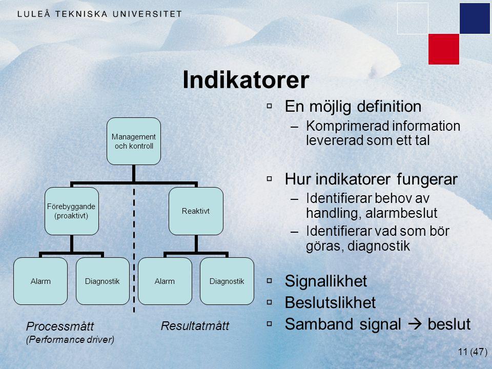 Indikatorer En möjlig definition Hur indikatorer fungerar Signallikhet