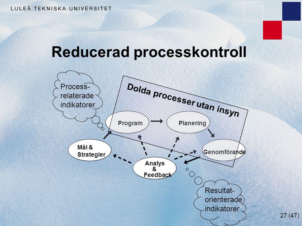 Reducerad processkontroll