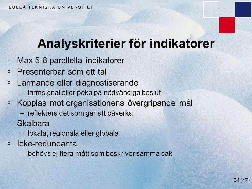 Analyskriterier för indikatorer