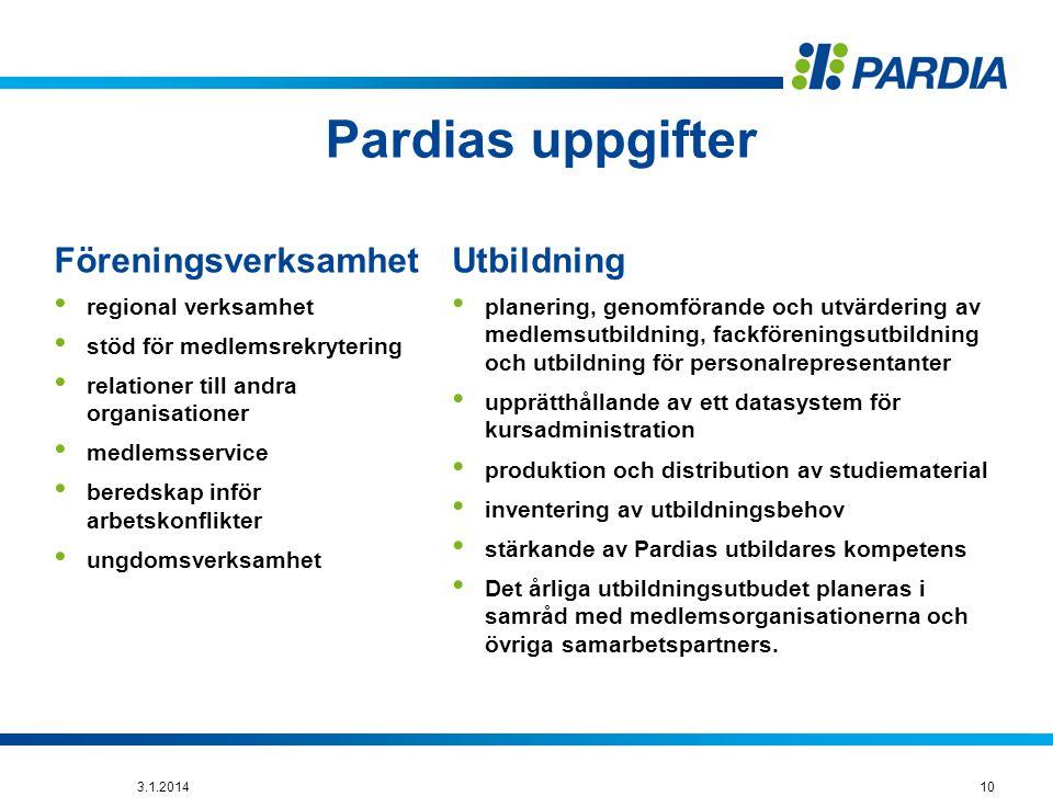 Pardias uppgifter Föreningsverksamhet Utbildning regional verksamhet