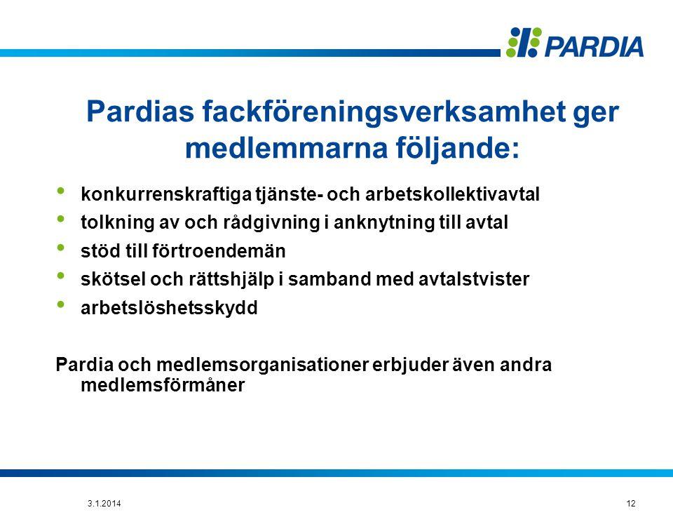 Pardias fackföreningsverksamhet ger medlemmarna följande: