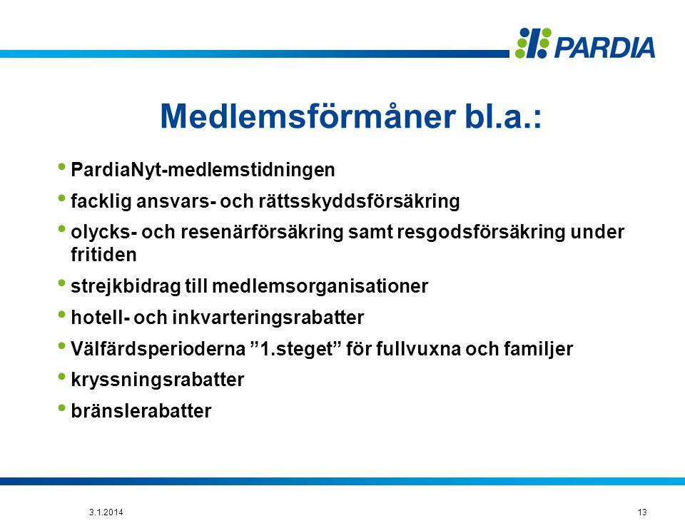 Medlemsförmåner bl.a.: PardiaNyt-medlemstidningen