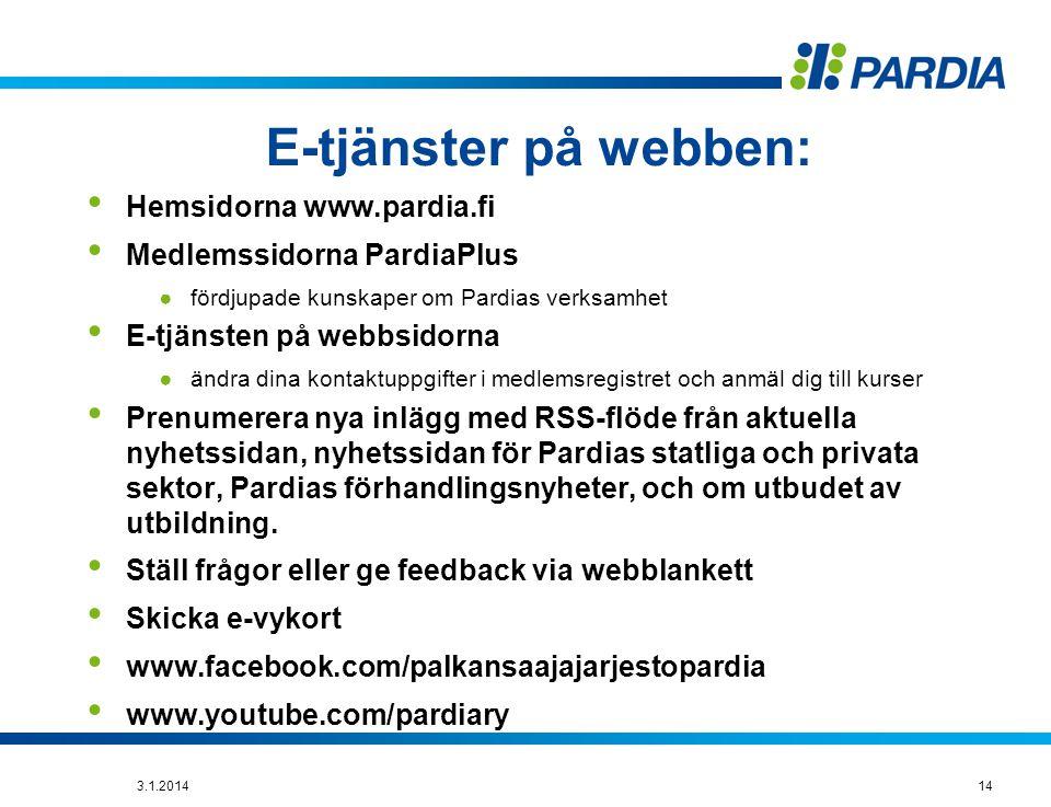 E-tjänster på webben: Hemsidorna www.pardia.fi