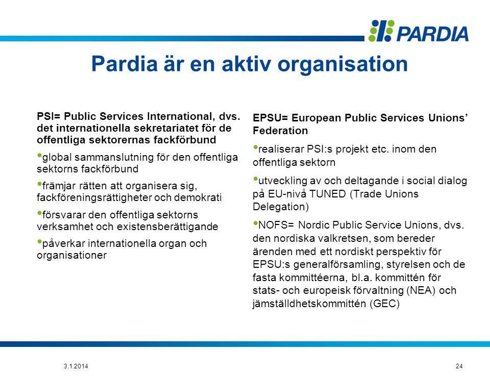 Pardia är en aktiv organisation
