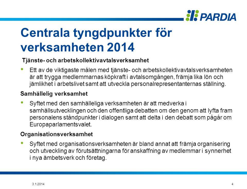 Centrala tyngdpunkter för verksamheten 2014