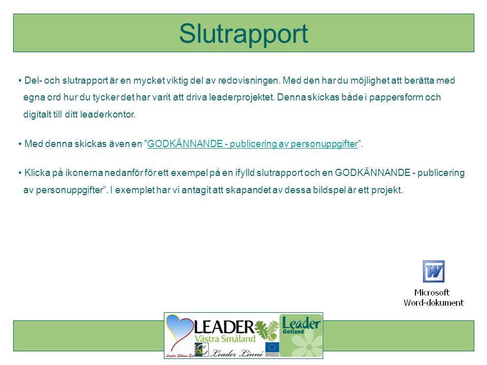 Slutrapport Del- och slutrapport är en mycket viktig del av redovisningen. Med den har du möjlighet att berätta med.