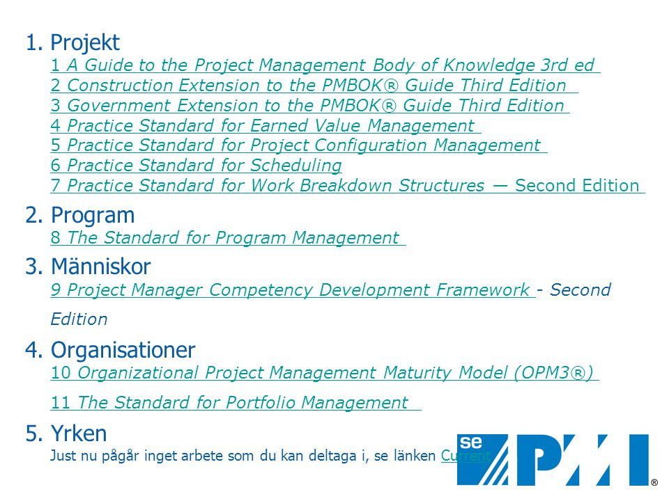 Projekt 1 A Guide to the Project Management Body of Knowledge 3rd ed 2 Construction Extension to the PMBOK® Guide Third Edition 3 Government Extension to the PMBOK® Guide Third Edition 4 Practice Standard for Earned Value Management 5 Practice Standard for Project Configuration Management 6 Practice Standard for Scheduling 7 Practice Standard for Work Breakdown Structures — Second Edition