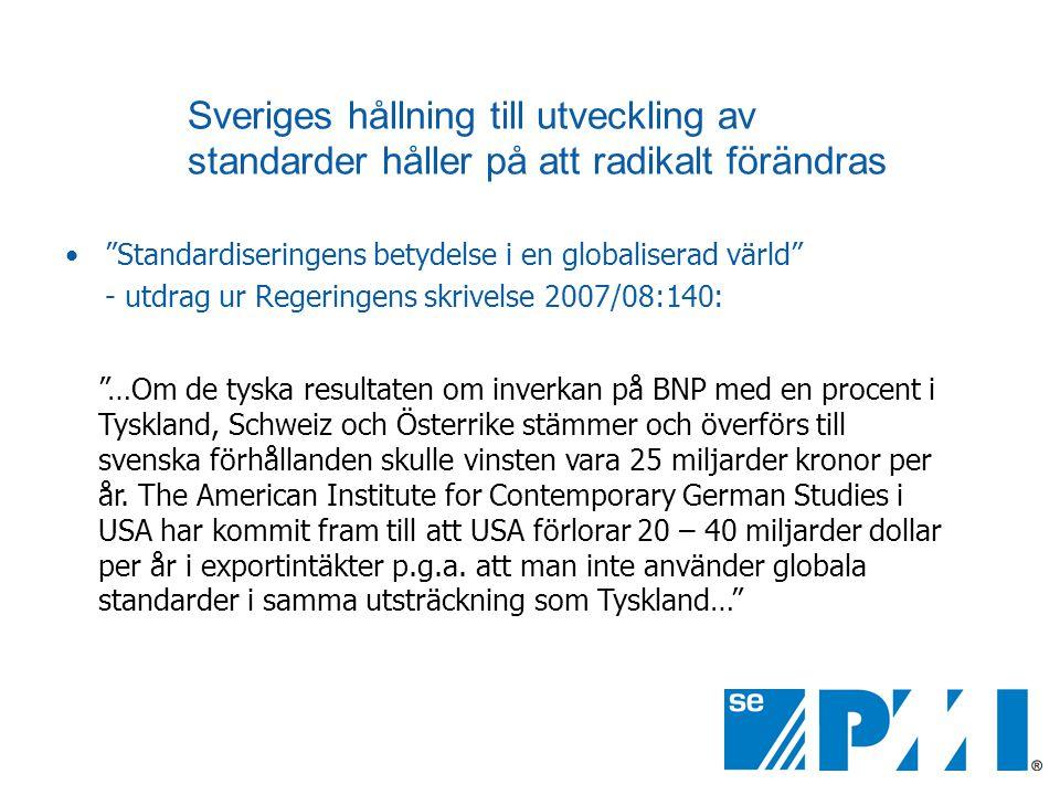 Sveriges hållning till utveckling av standarder håller på att radikalt förändras