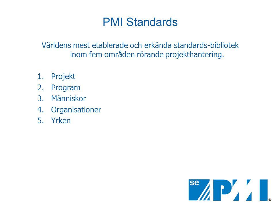 PMI Standards Världens mest etablerade och erkända standards-bibliotek inom fem områden rörande projekthantering.