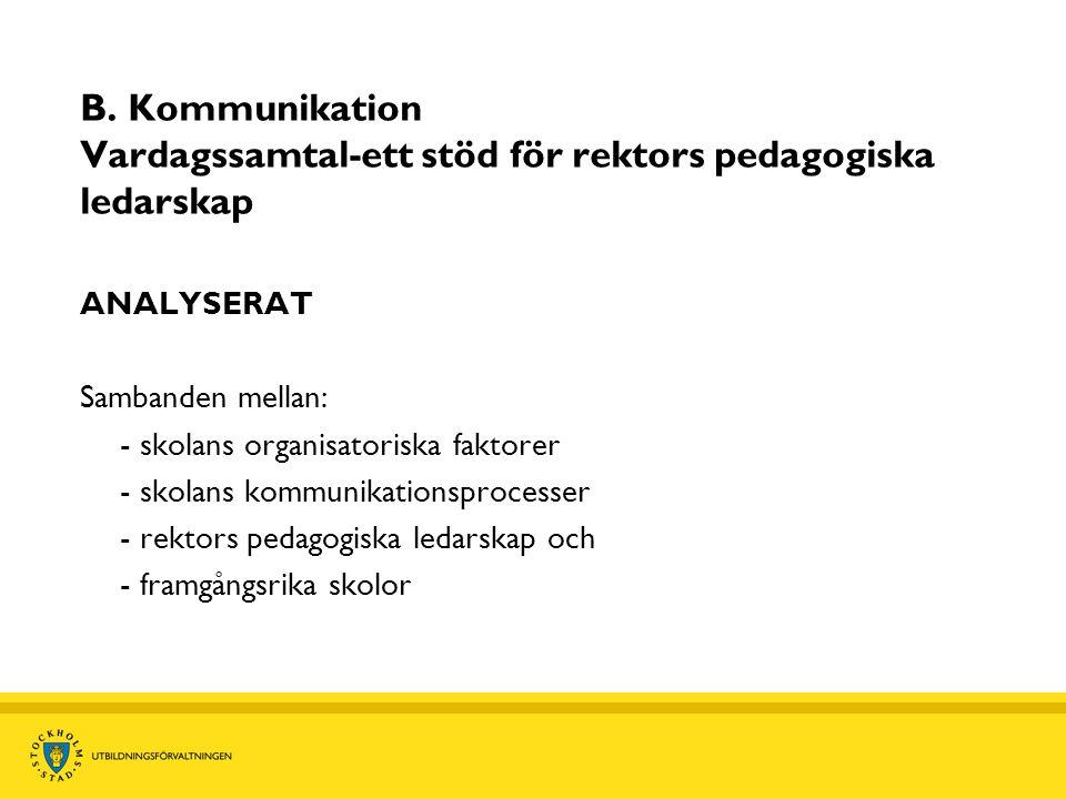 B. Kommunikation Vardagssamtal-ett stöd för rektors pedagogiska ledarskap