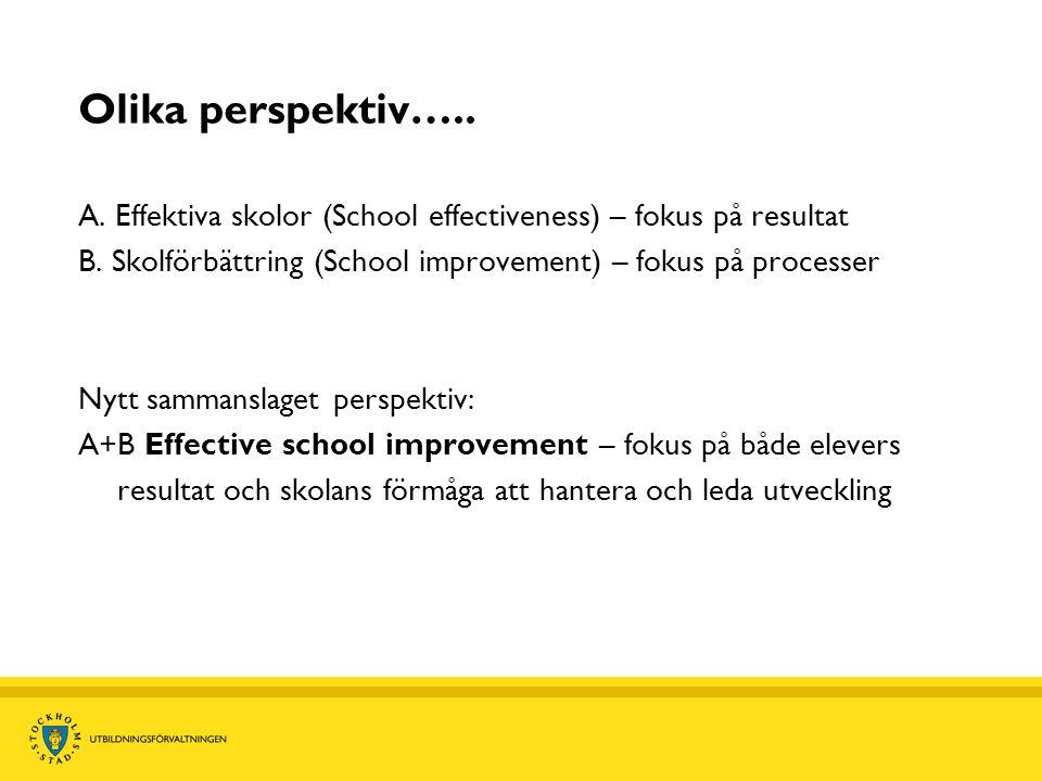 Olika perspektiv….. A. Effektiva skolor (School effectiveness) – fokus på resultat. B. Skolförbättring (School improvement) – fokus på processer.