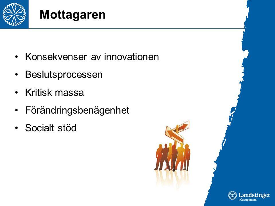 Mottagaren Konsekvenser av innovationen Beslutsprocessen Kritisk massa
