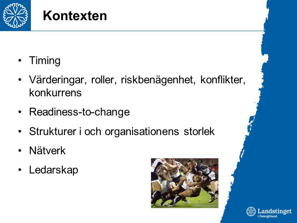 Kontexten Timing. Värderingar, roller, riskbenägenhet, konflikter, konkurrens. Readiness-to-change.