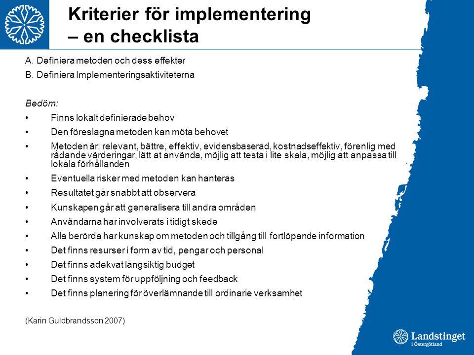 Kriterier för implementering – en checklista
