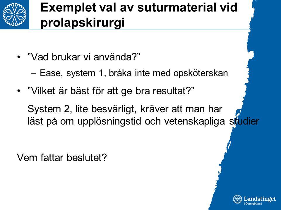 Exemplet val av suturmaterial vid prolapskirurgi