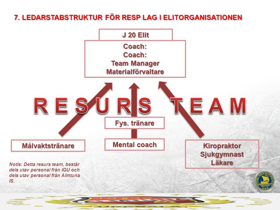 7. LEDARSTABSTRUKTUR FÖR RESP LAG I ELITORGANISATIONEN