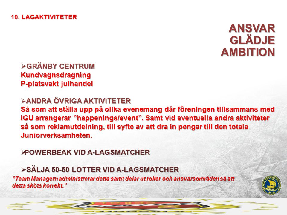 ANSVAR GLÄDJE AMBITION