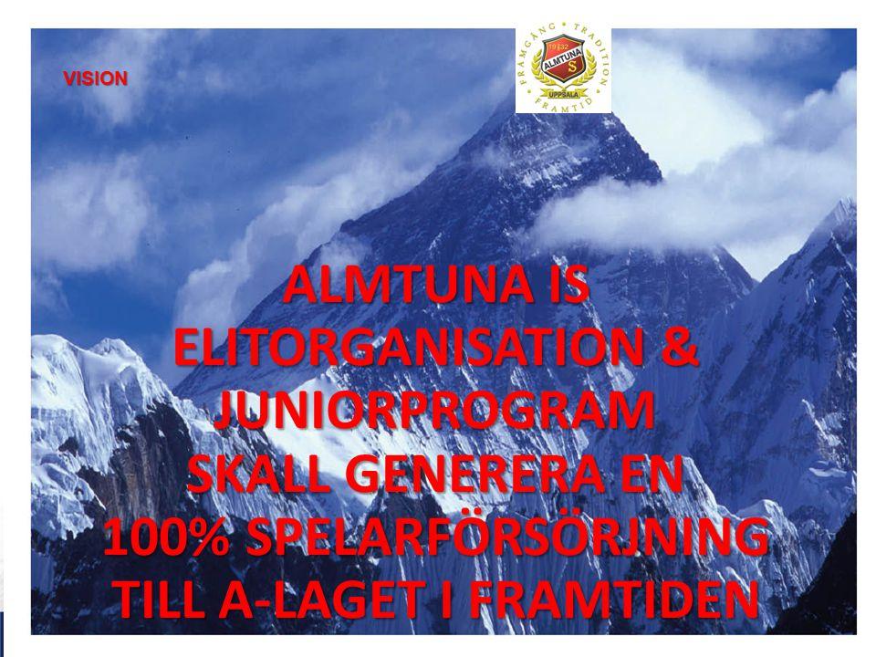 VISION ALMTUNA IS ELITORGANISATION & JUNIORPROGRAM SKALL GENERERA EN 100% SPELARFÖRSÖRJNING TILL A-LAGET I FRAMTIDEN.