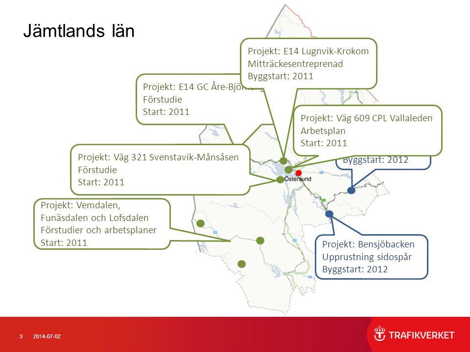 Jämtlands län Projekt: E14 Lugnvik-Krokom Mitträckesentreprenad Byggstart: 2011. Projekt: E14 GC Åre-Björnänge.