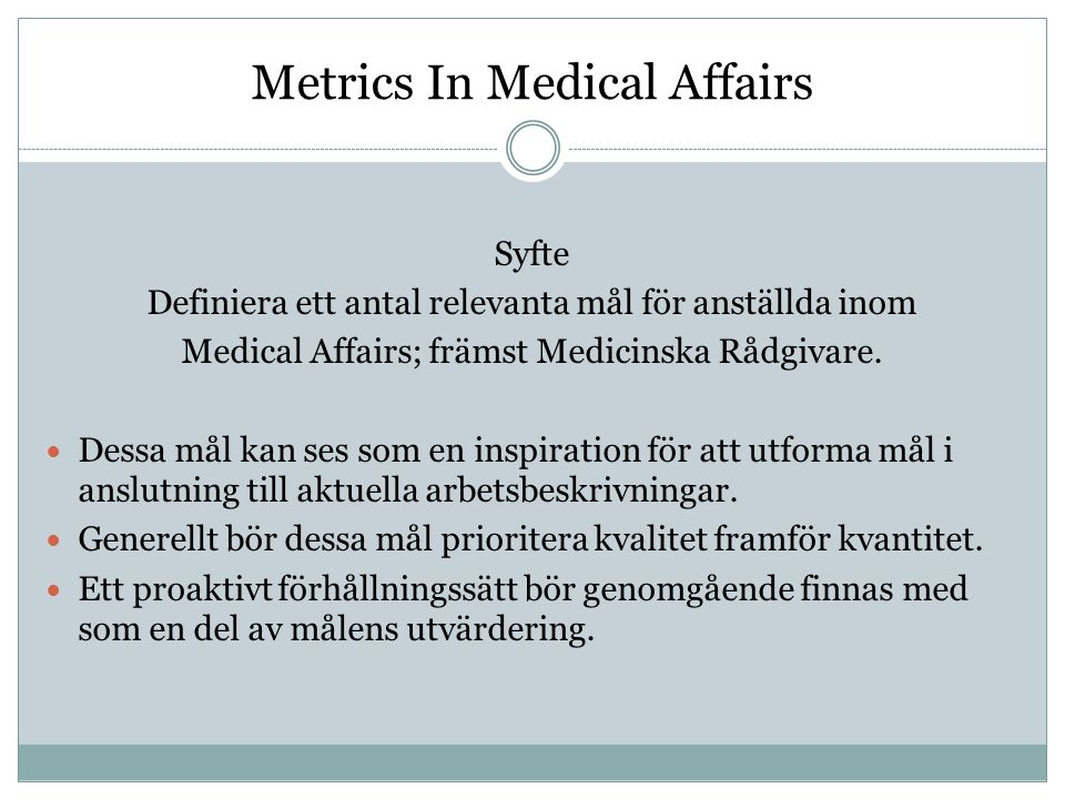 Metrics In Medical Affairs