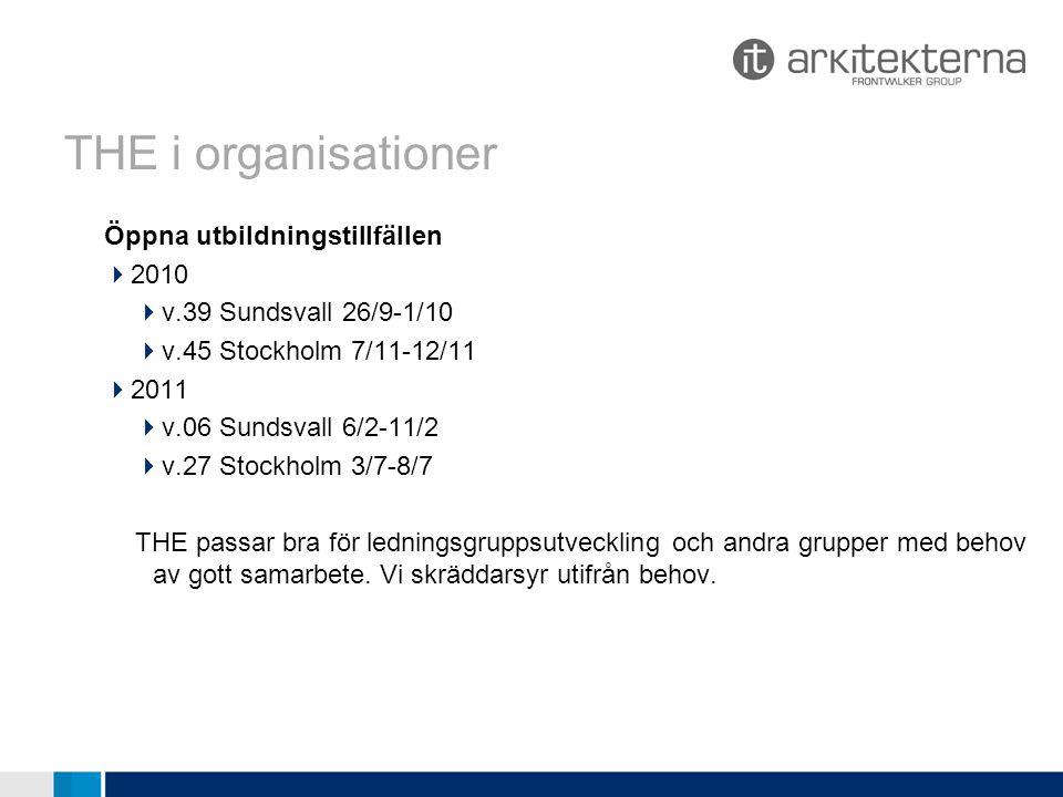 THE i organisationer Öppna utbildningstillfällen 2010