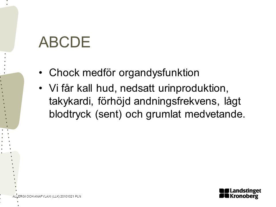 ABCDE Chock medför organdysfunktion