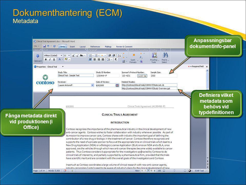 Dokumenthantering (ECM) Metadata