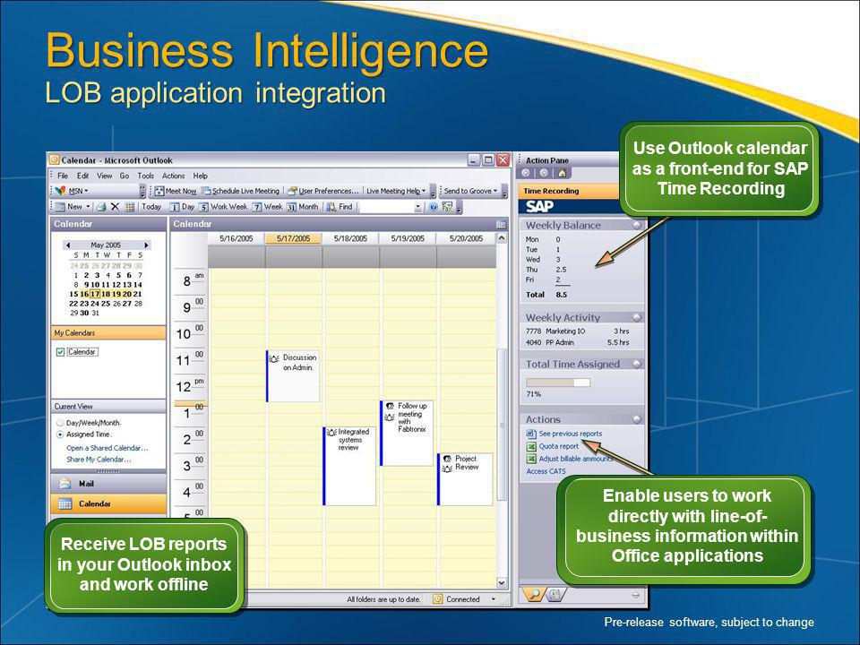 Business Intelligence LOB application integration