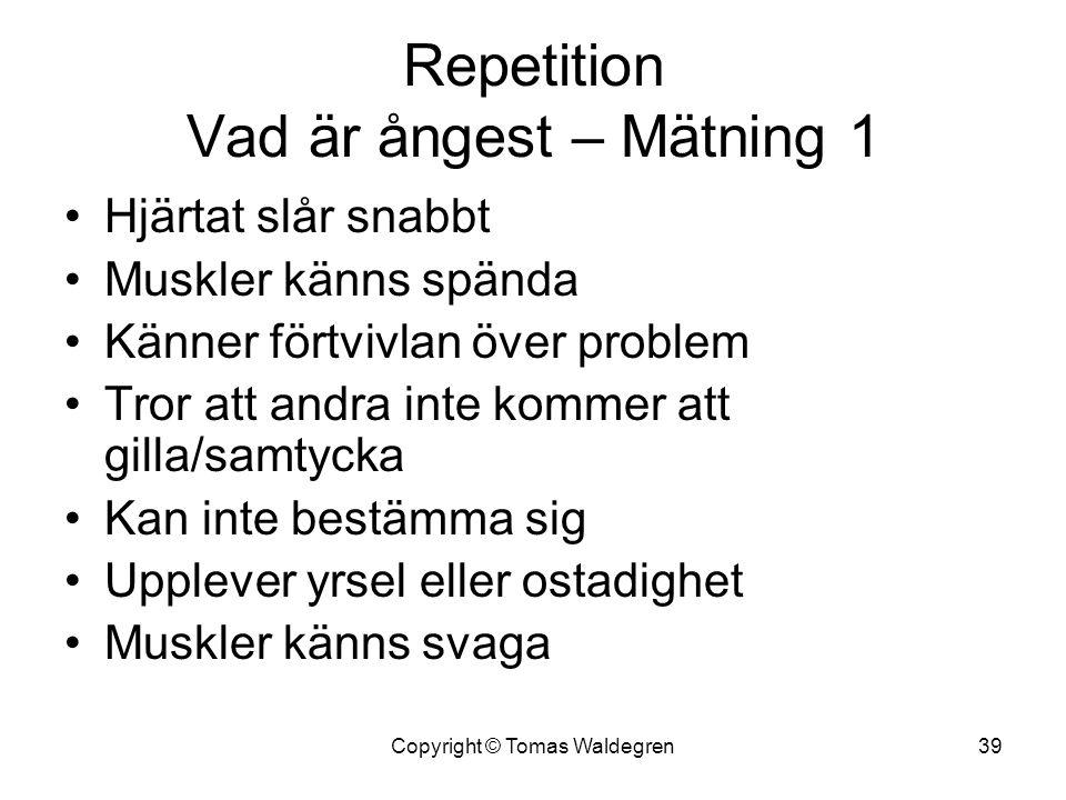 Repetition Vad är ångest – Mätning 1