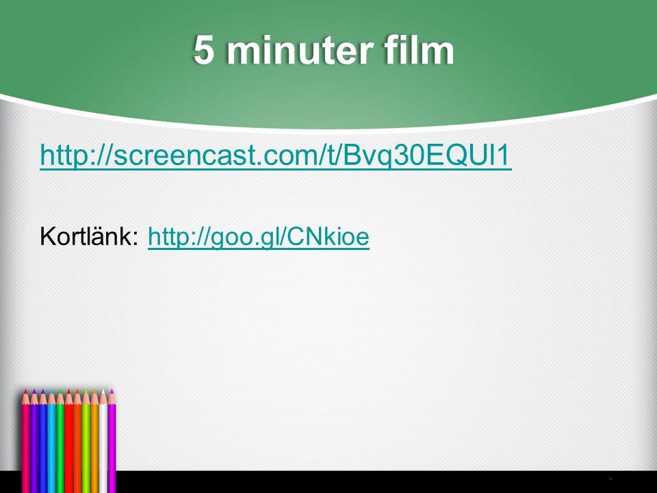 5 minuter film http://screencast.com/t/Bvq30EQUl1