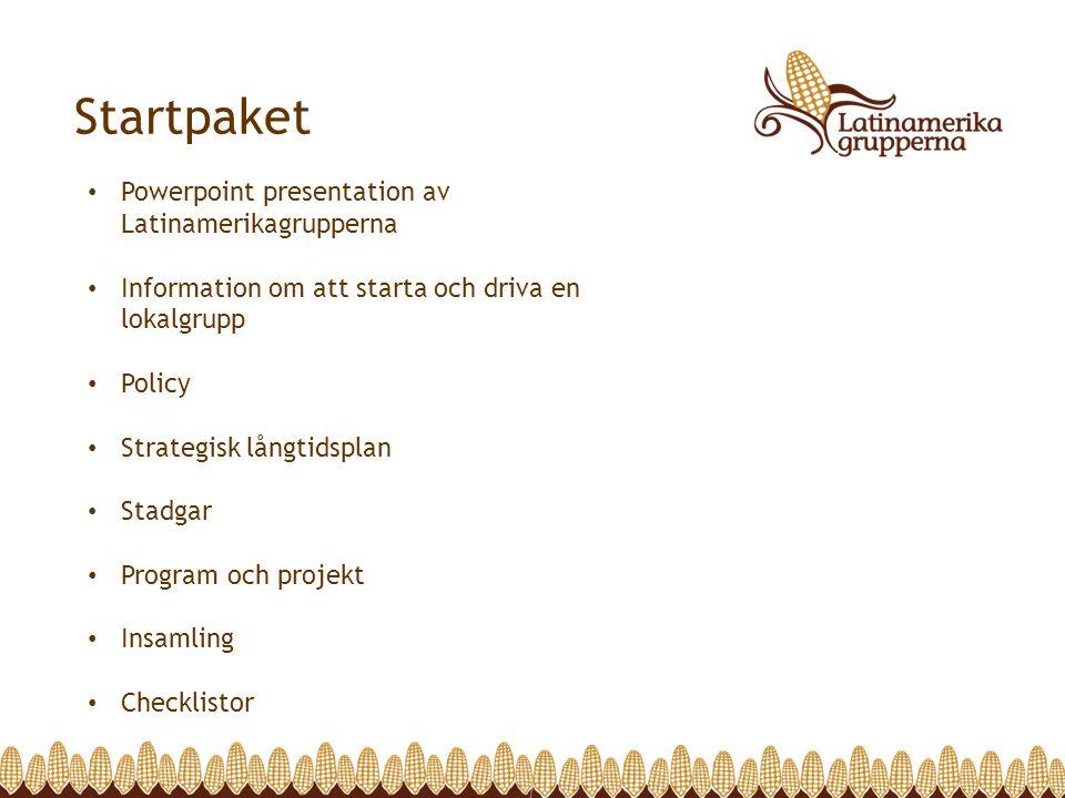 Startpaket Powerpoint presentation av Latinamerikagrupperna