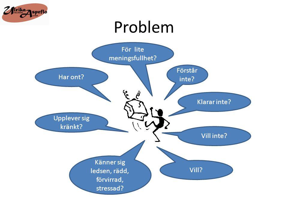 Problem För lite meningsfullhet Förstår inte Har ont Klarar inte