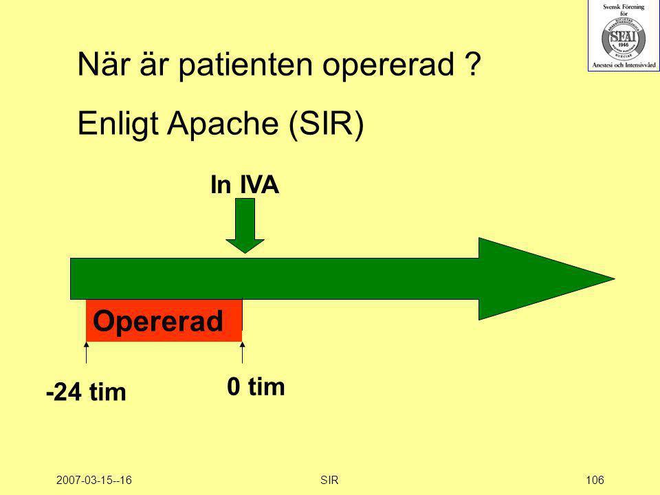 När är patienten opererad Enligt Apache (SIR)