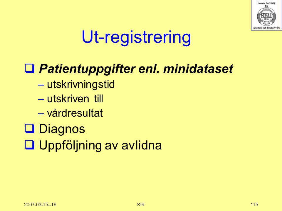 Ut-registrering Patientuppgifter enl. minidataset Diagnos
