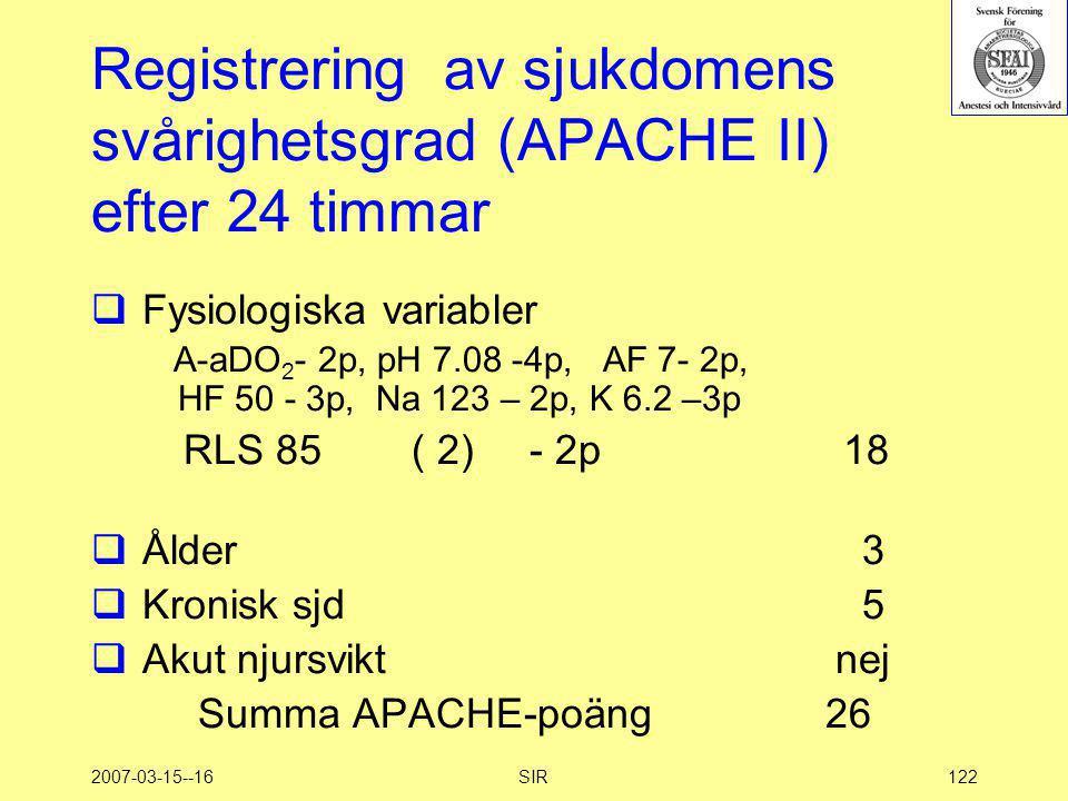 Registrering av sjukdomens svårighetsgrad (APACHE II) efter 24 timmar