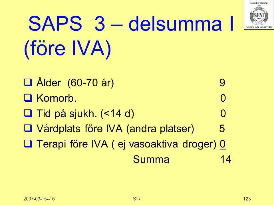 SAPS 3 – delsumma I (före IVA)