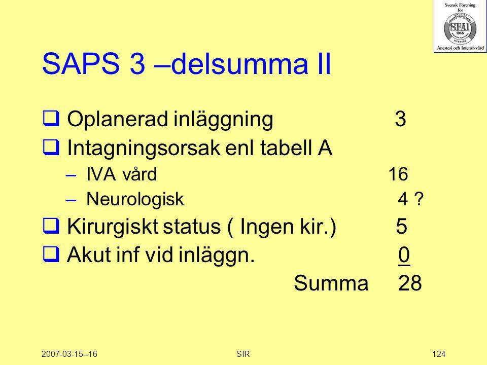 SAPS 3 –delsumma II Oplanerad inläggning 3