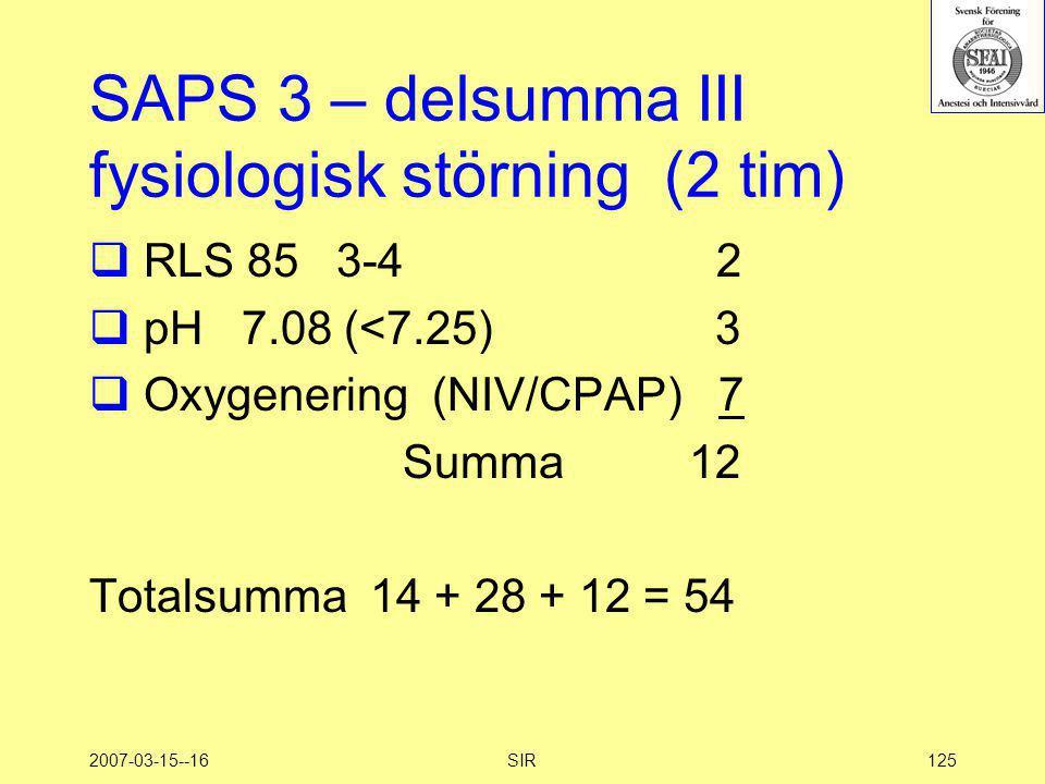 SAPS 3 – delsumma III fysiologisk störning (2 tim)