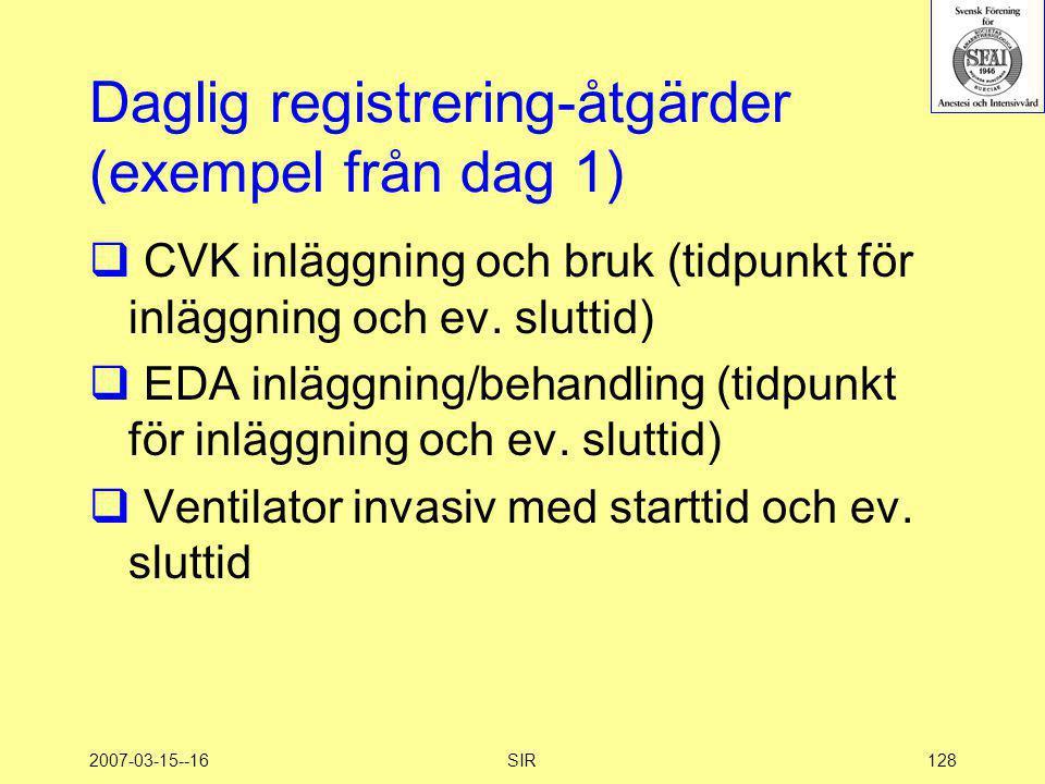 Daglig registrering-åtgärder (exempel från dag 1)