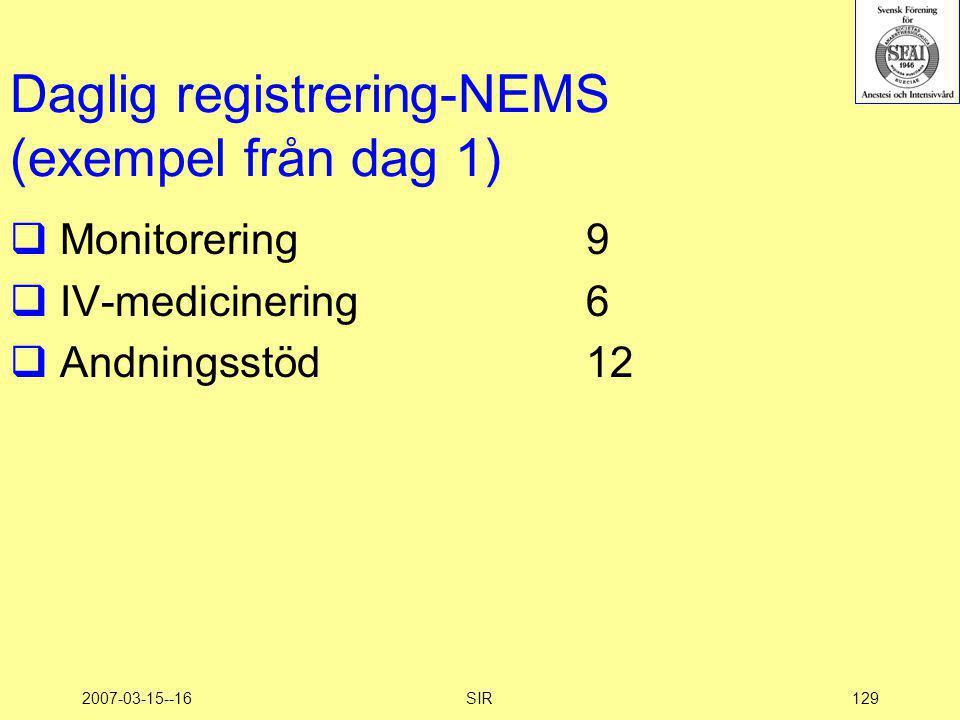 Daglig registrering-NEMS (exempel från dag 1)
