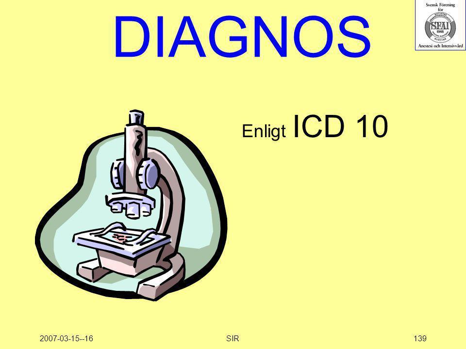 DIAGNOS Enligt ICD 10 2007-03-15--16 SIR