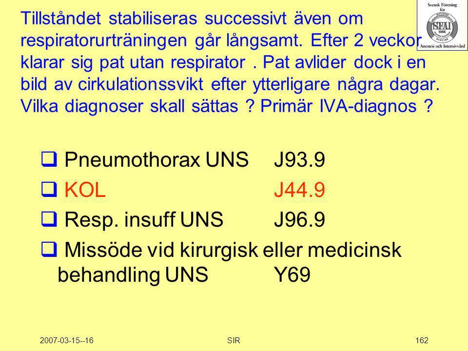 Missöde vid kirurgisk eller medicinsk behandling UNS Y69