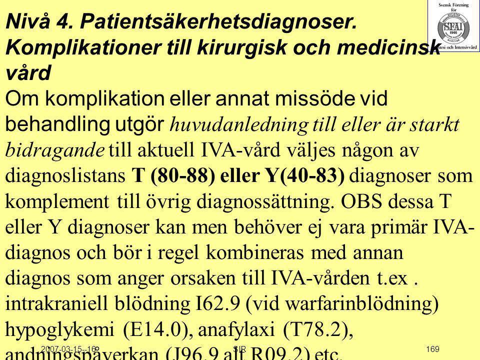 Nivå 4. Patientsäkerhetsdiagnoser