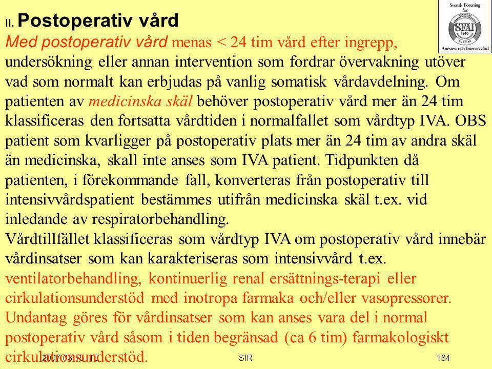 II. Postoperativ vård