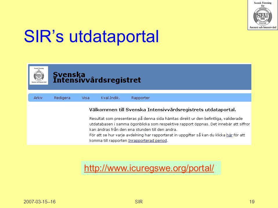 SIR's utdataportal http://www.icuregswe.org/portal/ 2007-03-15--16 SIR
