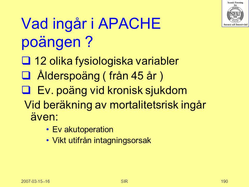 Vad ingår i APACHE poängen