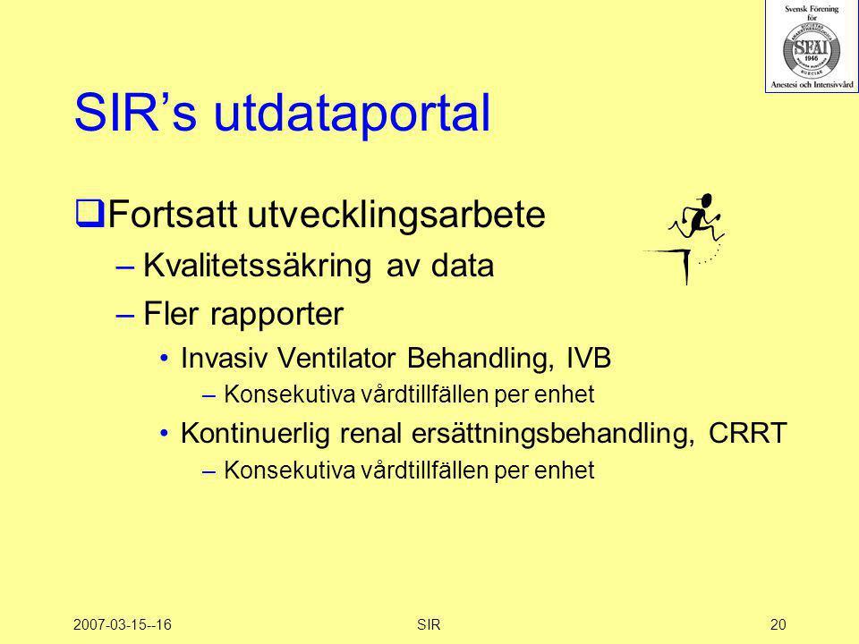 SIR's utdataportal Fortsatt utvecklingsarbete Kvalitetssäkring av data