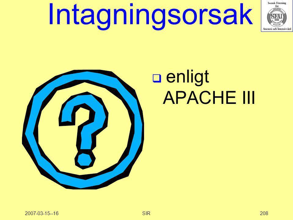 Intagningsorsak enligt APACHE III 2007-03-15--16 SIR