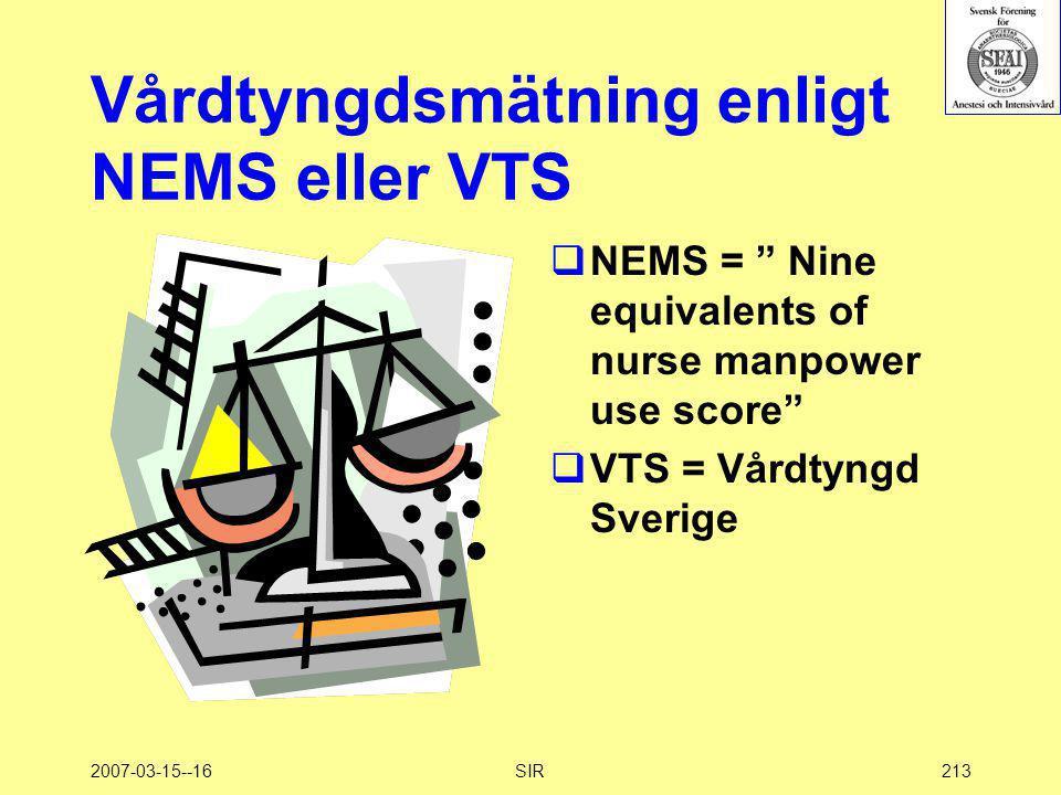 Vårdtyngdsmätning enligt NEMS eller VTS