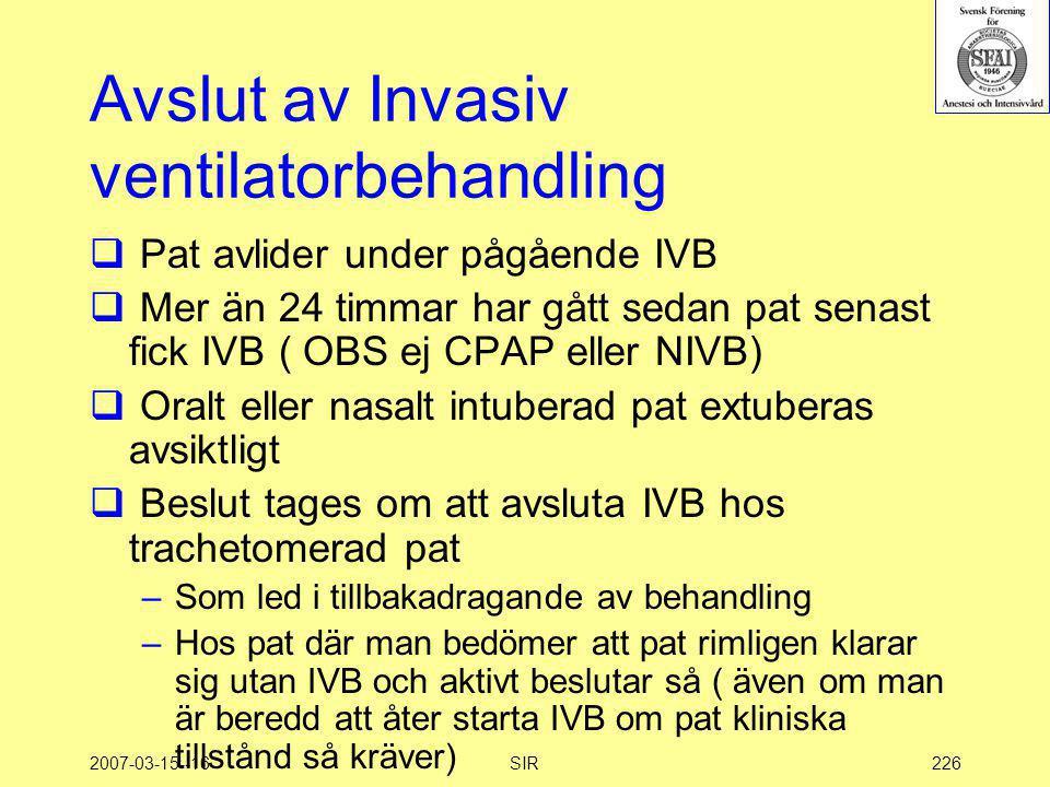 Avslut av Invasiv ventilatorbehandling
